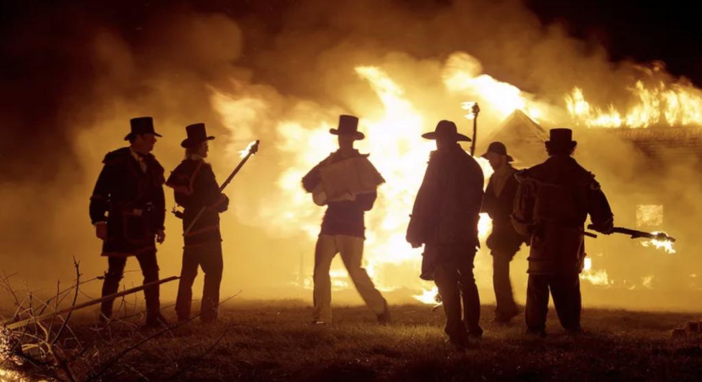 filming location in southwestern ontario, men burning a building